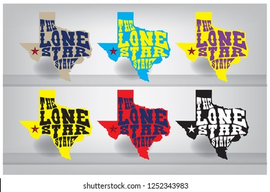 Texas Map with Nickname The Lone Star State, Vector EPS 10.
