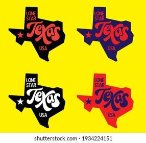 Texas map with nickname Lone Star logo design concept, vector eps