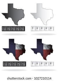 texas with map on computer keyboard style vector eps 10.
