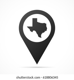 Texas Map on location pin. Map pointer isolated on a white background. Conceptual vector illustration.