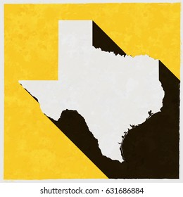 Texas map on retro poster with long shadow. Vintage sign with grunge effects. Vector illustration, easy to edit, manipulate, resize or colorize.