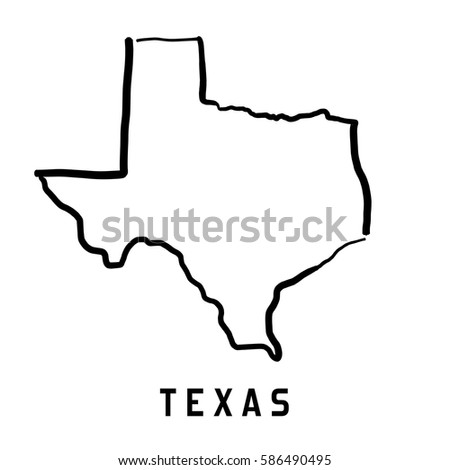 Outline Of Texas Map.Texas Map Outline Smooth Simplified Us Stock Vector Royalty Free