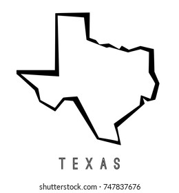 Texas map outline - US state shape sharp polygonal geometric style vector.