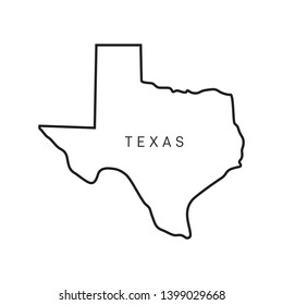 Texas Map Outline Vector Design Template. Editable Stroke