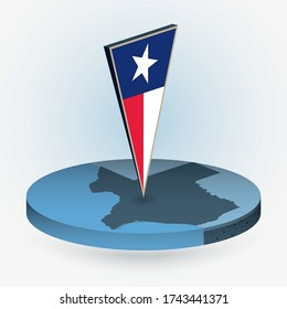 Texas map in round isometric style with triangular 3D flag of US State Texas, vector map in blue color.