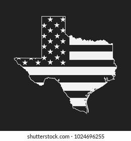 Texas map shape with USA Flag