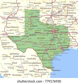 Texas map. Shows state borders, urban areas, place names, roads and highways.