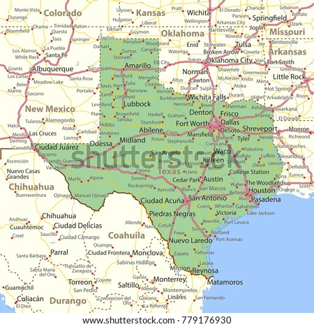 Texas Map Shows State Borders Urban Stock Vector Royalty Free
