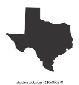 Texas map. Simple black map. Vector eps 08. State of US America Maps.