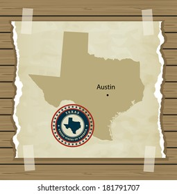 Texas map with stamp vintage vector background
