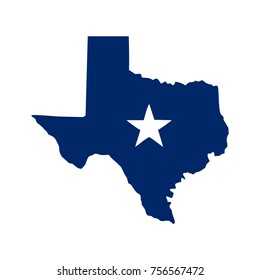 texas map with the star
