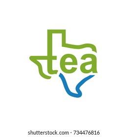 Texas Map with Tea Letter Logo Vector