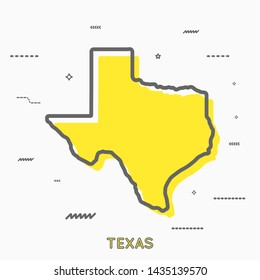 Texas map in thin line style with small geometric figures. Texas minimalistic map. Vector illustration . Texas map modern concept