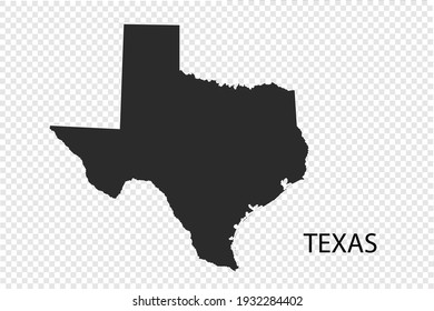 TEXAS map vector, black color. isolated on transparent background