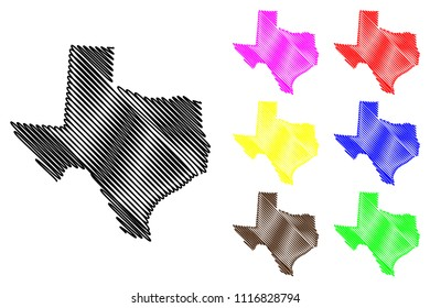 Texas map vector illustration, scribble sketch Texas map black, red, blue, green, yellow, purple
