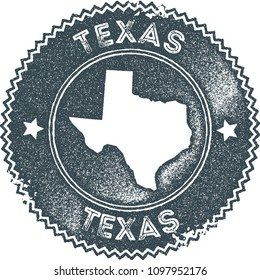 Texas map vintage dark blue stamp. Retro style handmade us state label, badge or element for travel souvenirs. Vector illustration.