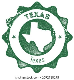 Texas map vintage dark green stamp. Retro style handmade us state label, badge or element for travel souvenirs. Vector illustration.