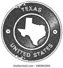 Texas map vintage dark grey stamp. Retro style handmade us state label, badge or element for travel souvenirs. Vector illustration.