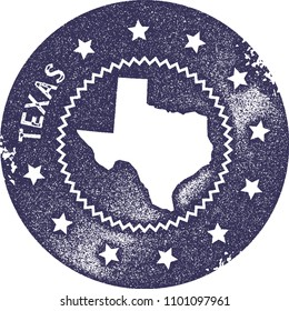 Texas map vintage deep purple stamp. Retro style handmade us state label, badge or element for travel souvenirs. Vector illustration.