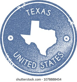 Texas map vintage light blue stamp. Retro style handmade us state label, badge or element for travel souvenirs. Vector illustration.