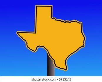 Texas map warning sign