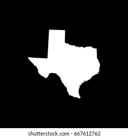 Texas map in withe on black background