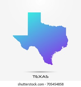 Texas map,border with purple,turquoise gradient. Vector illustration