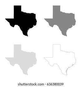 Texas maps in black, gray and line art. High detailed vector map, easy to edit.
