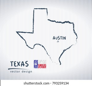 Texas national vector drawing map on white background