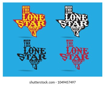 Texas nickname The Lone Star State typography design on texas map, vector eps 10