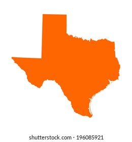 Texas orange vector map silhouette high detailed illustration isolated on white background. State of United states of America. Country in USA.