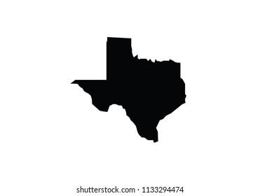 Texas outline map black USA state borders black vector illustration