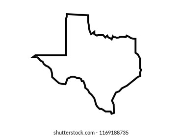 Texas outline map state shape united states