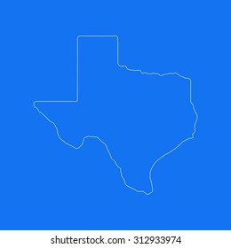Texas outline map, stroke. Line style. White and blue. Vector EPS8