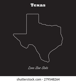 Texas outline map, stroke. Name of state. Line style. Vector EPS8