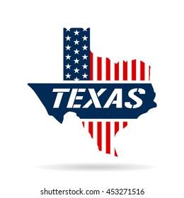 Texas patriotic logo map. Vector graphic design illustration