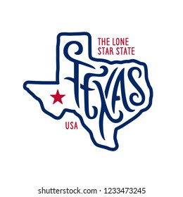 Texas related t-shirt design. The lone star state. Colored concept on black background. Vintage vector illustration.