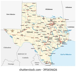 Map Of Texas And Louisiana Border.Texas Interstate Map Stock Illustrations Images Vectors