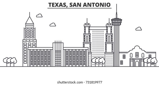 Texas San Antonio architecture line skyline illustration. Linear vector cityscape with famous landmarks, city sights, design icons. Landscape wtih editable strokes