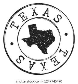 Texas Silhouette Postal Passport Stamp Round Vector Icon