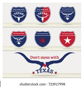 TEXAS slogan Don't Mess with texas and Nickname the Lone star state Collection.