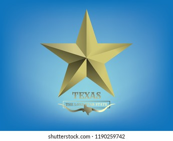 Texas Star Gold color with Nickname The Lone Star State and map, Vector EPS 10.