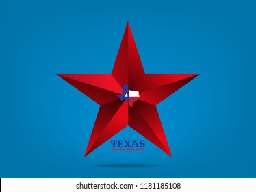Texas Star with map and nickname the lone star state, Vector EPS 10.