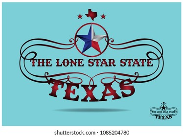 Texas star with nickname The Lone Star State and small map. vector EPS 10
