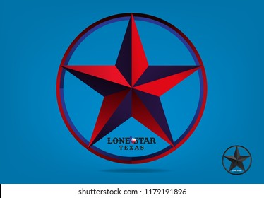 Texas Star with nickname The Lone Star State and Map, Vector EPS 10