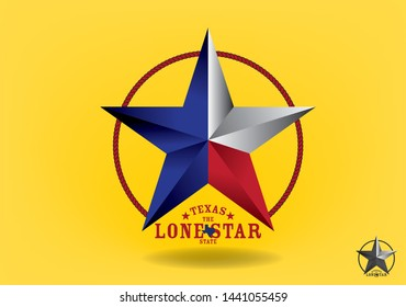 Texas Star with Texas nickname The Lone Star State, and Small map logo design concept, Vector EPS