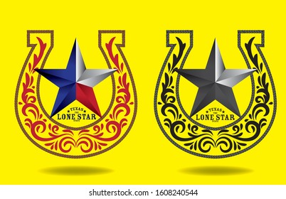 Texas Star with nickname The Lone Star State, decorative swirl elements and horseshoe  rope style, vector eps
