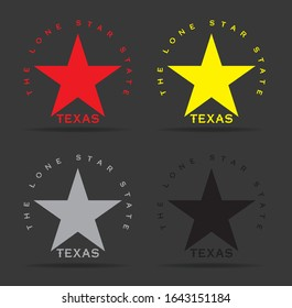 Texas Star with Nickname The Lone Star State logo design concept, vector eps