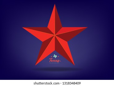 Texas Star Red with small map and nickname The Lone Star State. Vector EPS 10.