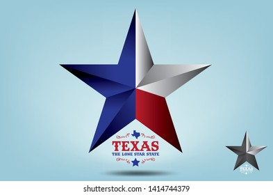 Texas Star with state nickname The Lone Star State, Vector EPS 10.